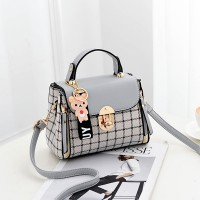 Check Prints Press Lock Contrast Handbags - Gray
