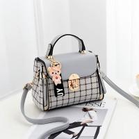 Check Prints Press Lock Contrast Handbags - Gray