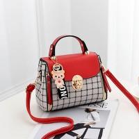 Check Prints Press Lock Contrast Handbags - Red