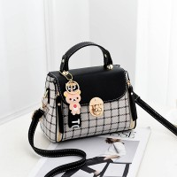 Check Prints Press Lock Contrast Handbags - Black