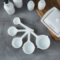 5 Piece White Color Measuring Kitchen Spoon Set