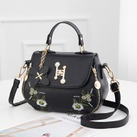 Thread Floral Art Twist Lock Synthetic Leather Handbags - Black
