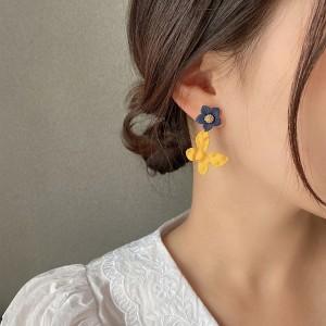 Girls Popular Colorful Fashion Earrings - Blue Yellow