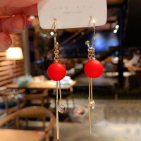 Girls Popular Pearl Crystal Tassel Earrings - Red
