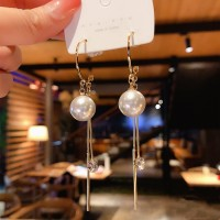 Girls Popular Pearl Crystal Tassel Earrings - White