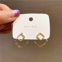 Girls Double Layer Square Fashion Earrings - Golden