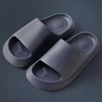 Plastic Thick Bottom Casual Wear Slippers - Dark Grey