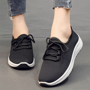 Breathable Lace Closure Sports Wear Running Shoes - Black