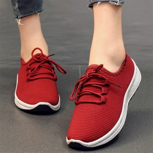 Breathable Lace Closure Sports Wear Running Shoes - Red