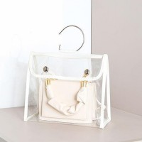 Button Closure Ring Handle Transparent Handbags - White