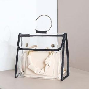 Button Closure Ring Handle Transparent Handbag Cover - Black