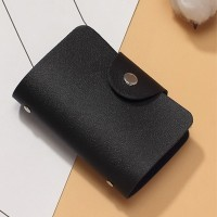 Titch Button Pull Over Plain Women Pocket Card Wallet - Black