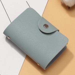 Titch Button Pull Over Plain Women Pocket Card Wallet - Light Blue