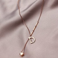 Letter Braided Crystal Pendant Necklace - Golden