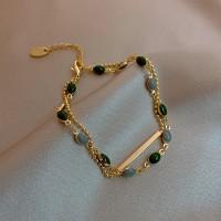 Rhinestone Decorative Gold Plated Hook Closure - Green