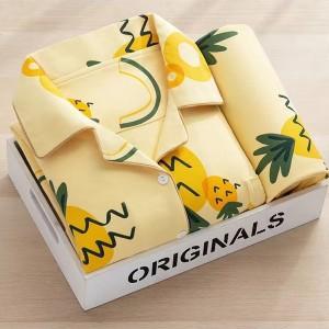 Two Pieces Fruits Printed Suit Neck Nightwear Sleepwear Suit - Yellow