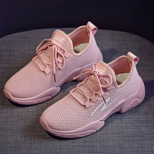 Breathable Lace Closure Sports Wear Running Shoes - Pink