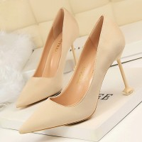 Suede Material Goblet Pointed Heels - Khaki