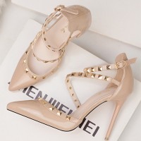 Decorative Strap Buckle Closure High Heels - Khaki