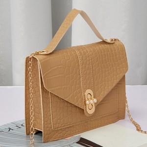Animal Pattern Chain Strappy Messenger Bags - Khaki