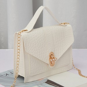 Animal Pattern Chain Strappy Messenger Bags - White