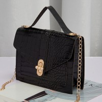 Animal Pattern Chain Strappy Messenger Bags - Black