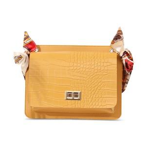 Ribbon Animal Pattern Chain Strap Messenger Bags - Yellow