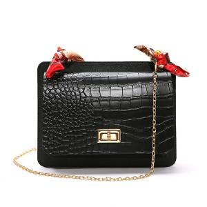 Ribbon Animal Pattern Chain Strap Messenger Bags - Black
