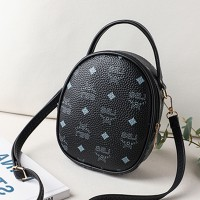 Synthetic Leather Zipper Closure Printed Shoulder Bags - Black