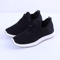 Lace Closure Rubber Sole Sneakers - Black