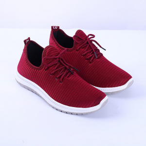 Lace Closure Rubber Sole Sneakers - Red
