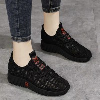 Hollow Lace Closure Sports Wear Sneakers - Black