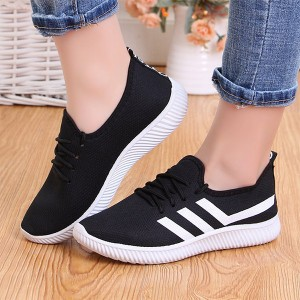 Contrast Lining Rubber Sole Lace Closure Sneakers - Black
