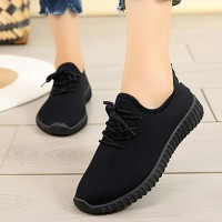 Lace Closure Solid Color Casual Sneakers - Black