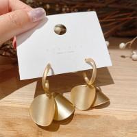 Girls Matte Round Alloy Fashion Earrings - Golden