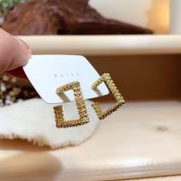 Girls Fashion Square Alloy Earrings - Golden