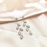 Girls Fashion Crystal Leaves Long Earrings - Golden