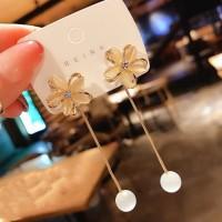 Girls Crystal Flower Pearl Tassel Long Earrings - Golden