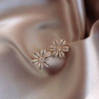 Girls Crystal Flower Simple Earrings - Black Gold