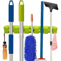 Wall Mount Heavy Duty  Mop And Broom Holder Organizer - Green