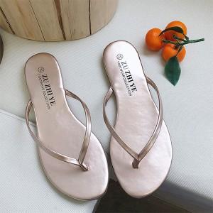 Plain Elegant Shiny Party Wear Flip Flop Slippers - Champagne