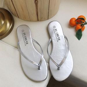 Plain Elegant Shiny Party Wear Flip Flop Slippers - Silver