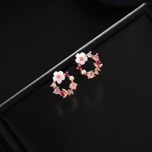 Girls Flower Fashion Wreath Round Earrings - Multi Color