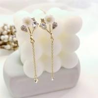 Girls Flower Crystal Chain Tassel Long Earrings - Golden