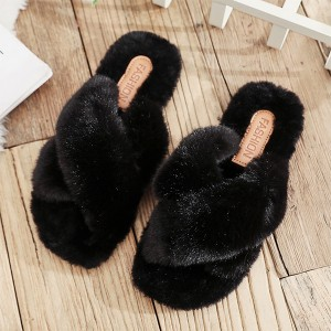 Cotton Cross Strap Furry Slip Over Slippers - Black