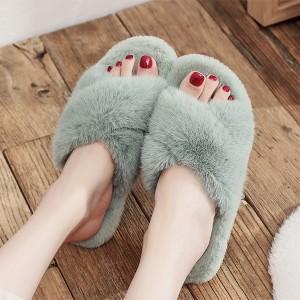 Cotton Cross Strap Furry Slip Over Slippers - Green