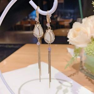 Ladies Drop Crystal Tassel Long Earrings - Golden