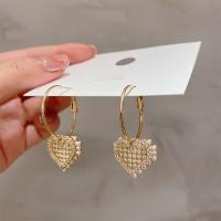 Ladies Elegant Pearl Heart Decoration Earrings - White Gold