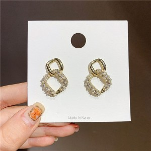 Ladies Pearl Double Square Decoration Earrings - Golden