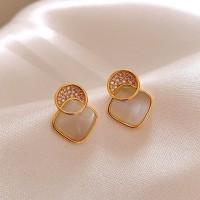 Ladies Opal Alloy Decoration Earrings - Golden